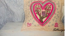 hand painted pillow valentine's day owl