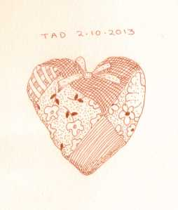 quilted heart, sketch