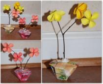 Origami flowers & vase