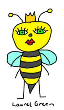 a drawing of a bee with a crown